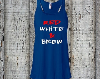 4th of July//American Tank Top//America Tank Top//Fourth of July//Red White & Brew//American Flag//Womens Racerback Tank Top//Summer Tank