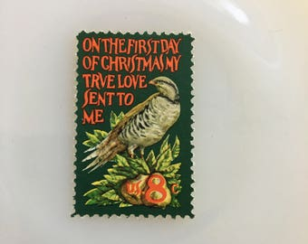 Christmas - Partridge in a Pear Tree - 8c unused US postage stamp - Quantity of 5