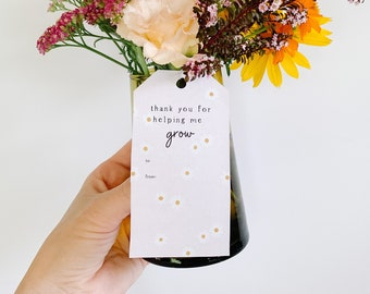 PRINTABLE Teacher Gift Tag, Teacher Flower Gift, Back to School Teacher Gift,  Printable Teacher Gift, Teacher Appreciation Gift, Download