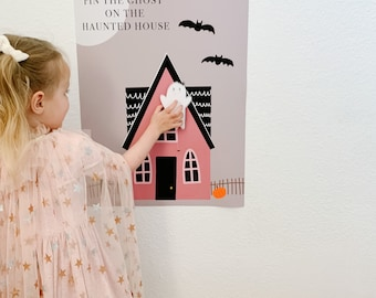 Pin the Ghost on The Haunted House Printable,  Halloween Game, Halloween Printable, Halloween Download, Ghost Printable, Halloween