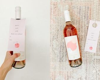 Wine Tags Teacher Gift,  Back to school Teacher Gift, Wine Teacher Gift Tags, Wine Label Teacher Gift, Back to school printable