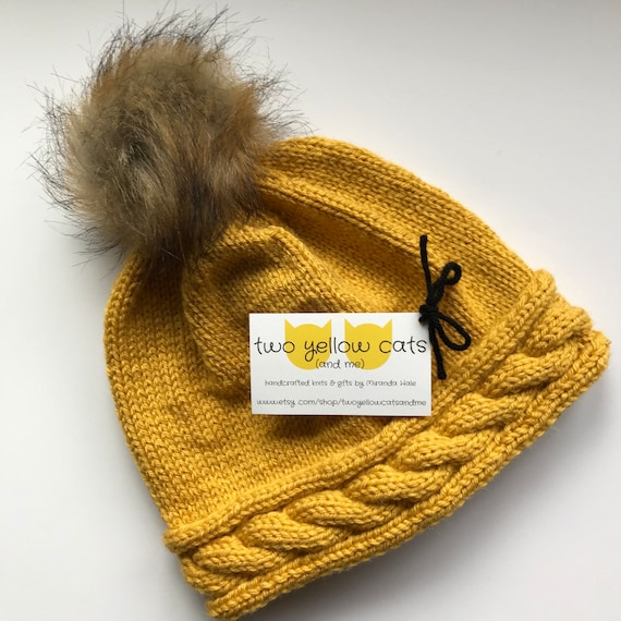 Cable Trim Knit Beanie With Faux Fur Pompom in Mustard  7e8c5d9188ab