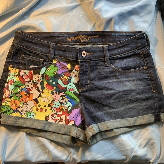 Pantalones Cortos Inspirados En Pokemon Pintados A Mano Etsy