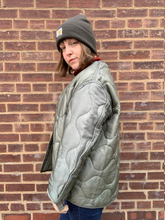 Vintage Puffy Army Green Quilted Liner Jacket Coat