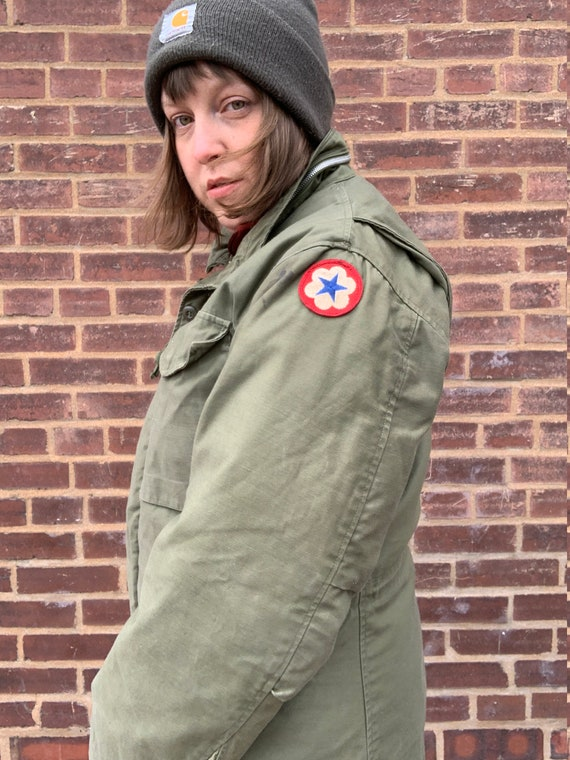 Vintage Army Jacket With Quilted Puffy Liner Thick