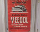 Large, Original 1954 Veedol Motor Oil Gasoline Advertising Vintage Sign Poster Old Original Gas Station