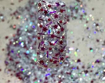 Nail Art Acrylic Gel Glitter Mix  RASPBERRY ICE