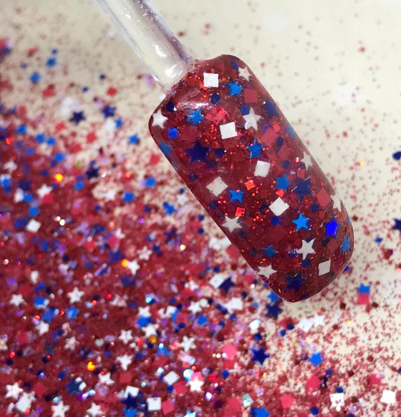 Nail Art Acrylic Gel Glitter Mix Red White Blue Etsy