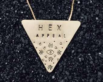 HEX APPEAL triangle pin/necklace   (hand-stamped brass)