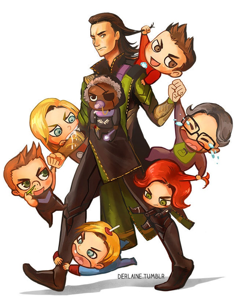 Loki Babysitter - Poster Avengers Iron Man Black Widow Thor Hulk Captain  America