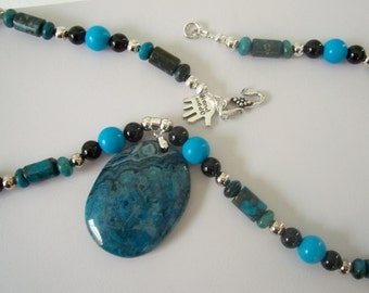 Awesome blue lace agate beaded necklace