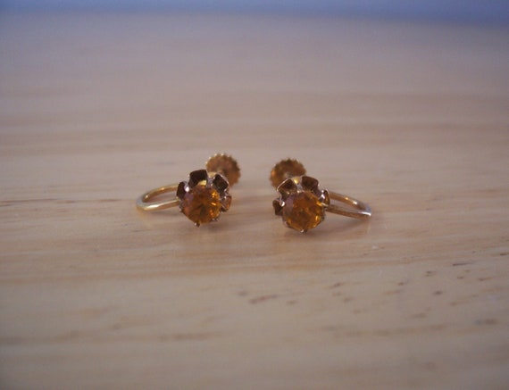 NON Pierced Dainty Vintage Natural Citrine Screw B