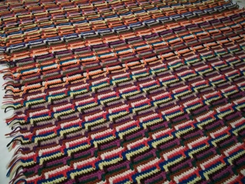 Vintage Handmade Crochet Afghan Blanket Throw Rainbow Zig Zag Striped 63 X 49 #1535