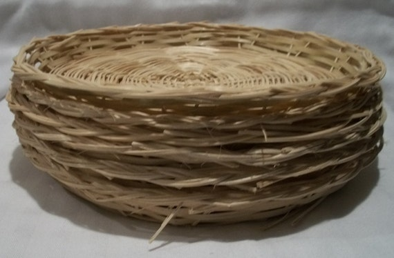 wicker paper plate holders lot of 6 vintage natural rattan etsy. Black Bedroom Furniture Sets. Home Design Ideas