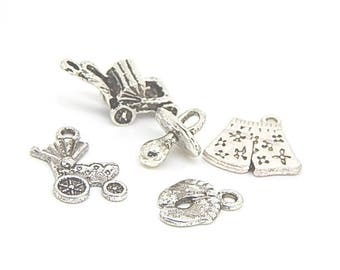 5 charm mixed theme baby shower, baby silver