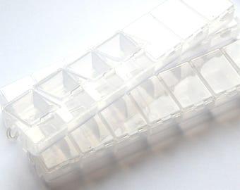 2 transparent beads, 7 closable bins storage boxes
