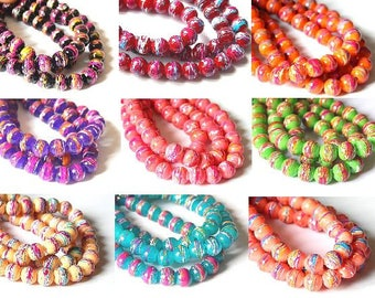 10 multicolored striped beads 8mm glass main //coloris choice