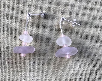 Delicate Sterling Silver Scottish Sea Glass Drop Dangly Mermaid Stacker Earrings - Lavender Purple & White Beach Seaglass - Pale Pink Beads