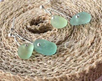 Delicate Sterling Silver Scottish Sea Glass Drop Dangly Mermaid Earrings - Aqua Blue & Light Bright Green Beach Seaglass