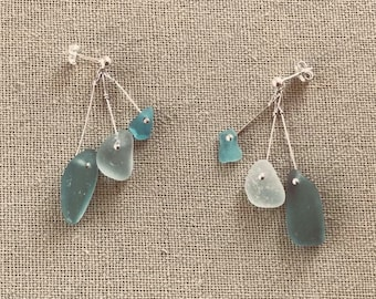 Delicate Sterling Silver Scottish Sea Glass Drop Dangly Mermaid Earrings - Turquoise Blue Seafoam Green & Light Teal Beach Seaglass