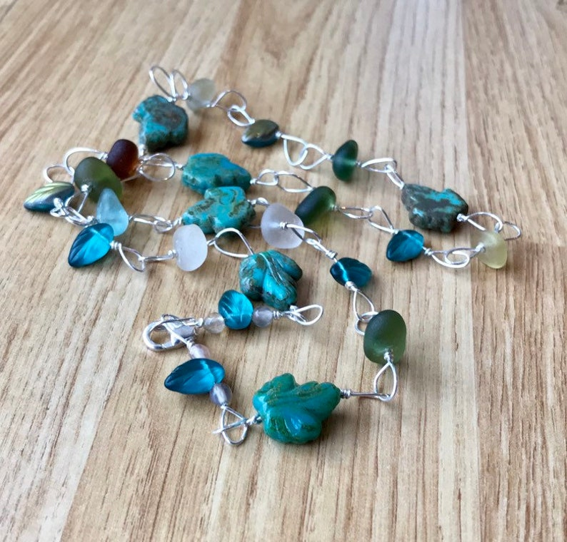 Seaham Sea Glass In Fall Colours /& Czech Turquoise Teal Green Blue Leaf Beads Sterling Silver 23 Seaglass Autumn Leaves Beach Necklace