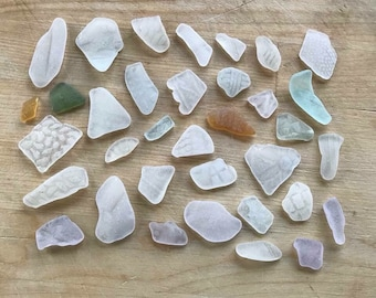 Lot Of Loose Patterned Sea Glass Pieces From Scotland - Scottish Beach Seaglass