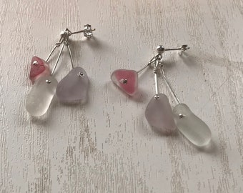 Delicate Sterling Silver Scottish Sea Glass Drop Dangly Mermaid Earrings - Pale Lavender & Pink White Flashed Multi Beach Seaglass