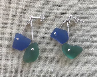 Delicate Sterling Silver Scottish Sea Glass Drop Dangly Mermaid Earrings - Cobalt Blue & Green Beach Seaglass