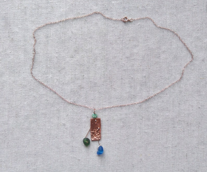 Textured Copper Bee Sea Glass Precious Metal Clay /& English Cobalt Blue And Green Beach Seaglass Pendant Necklace 18 Rose Gold Chain