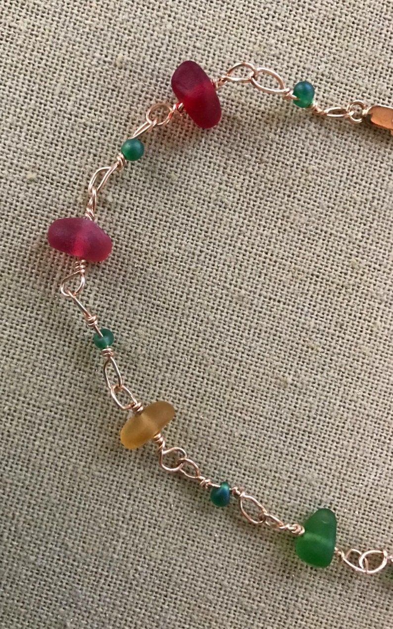 Adjustable 10 Gold Filled Sea Glass Rainbow Bracelet Bangle With Multicoloured Seaglass /& Czech Glass Teal Beads Pink Orange Yellow Blue