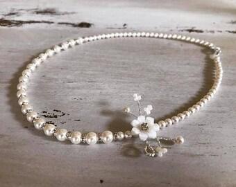 Delicate Bridal  flower necklace