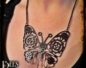 Steampunk Butterfly Necklace - Laser Cut Acrylic - Black