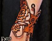 Steampunk - Wrist Leather Bracer Butterfly