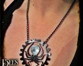 Steampunk Octopus Necklace - Laser Cut Acrylic - Black
