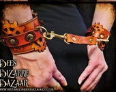 Steampunk - Cogs Wrist Leather Bracer, Mature, Bondage Cuffs, Pair Handcuff