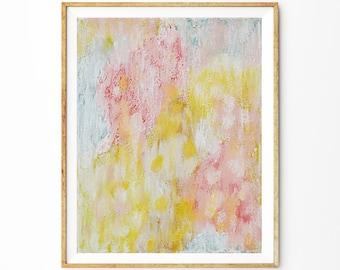 Original Abstract Oil Painting, 11x 14 Canvas Art, Light Pastel Pink, Textured, White, Summer Rain by Elizabeth Ellenor