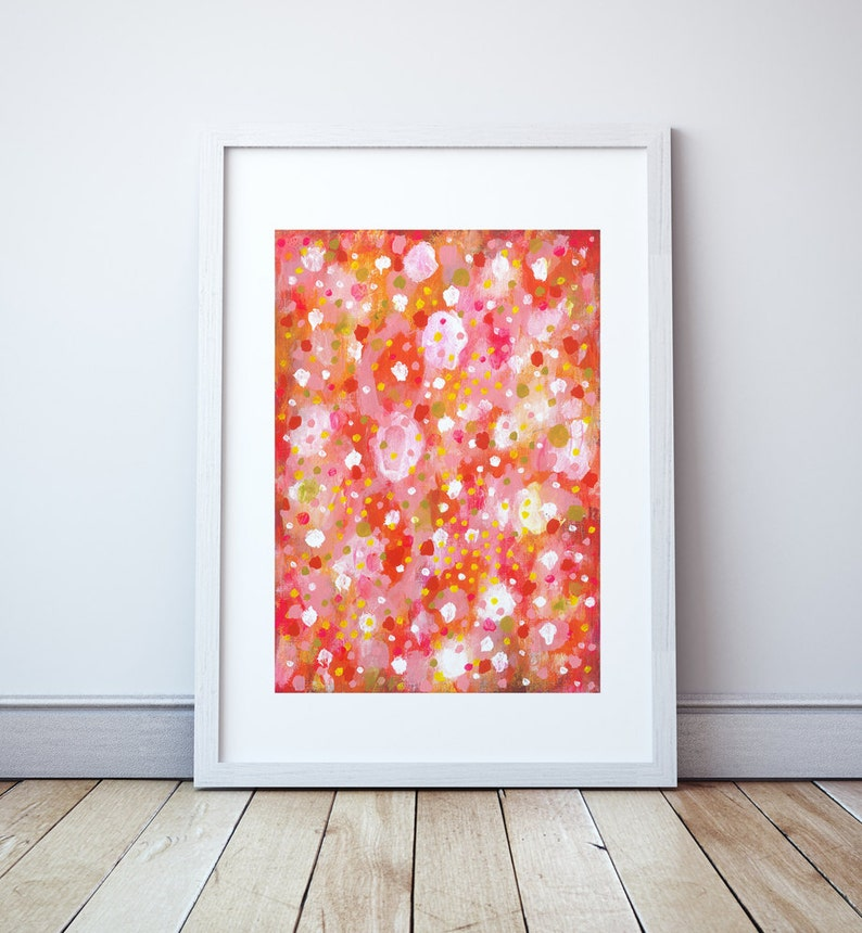 Bright Pink Abstract Paper Painting Pink and Orange Modern image 0