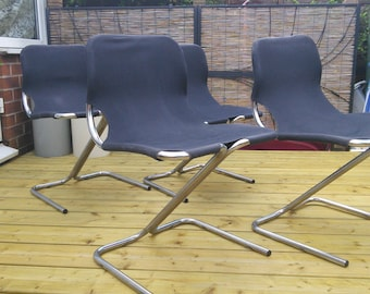 Vintage Italian cantilever chrome chairs x 4