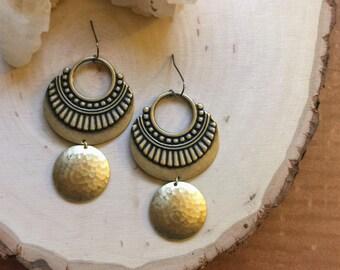 brass tribal earrings | hammered circle earrings | brass shield earrings | gold gypsy earrings | boho chic earrings | full moon earrings