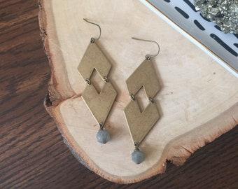 brass chevron earrings | labradorite earrings | geometric earrings | brass diamond earrings | brass arrow earrings | geometric jewelry