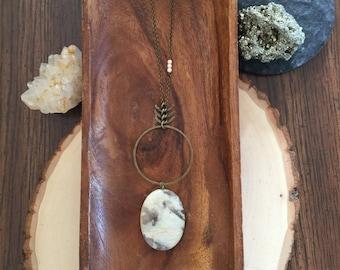 stone pendant on long chain necklace | long boho necklace | long layering necklace | hammered circle necklace | cream stone oval pendant