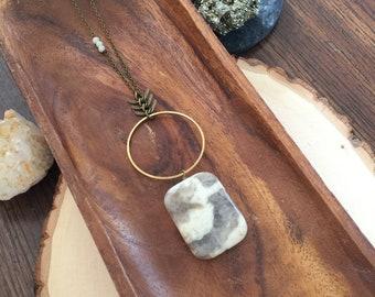long stone necklace | long boho necklace | long layering necklace | hoop and stone necklace | rectangle pendant necklace | chevron chain
