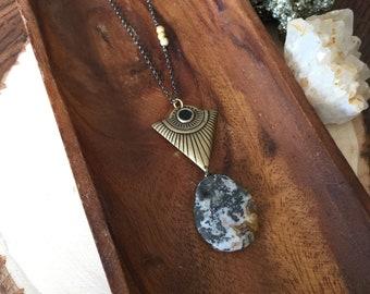 triangle pendant necklace | stone pendant necklace | gold triangle necklace | long geometric necklace | long chain necklace | boho chic