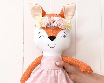 Fox Doll Baby Shower Toy Nursery Decor Girl Plush Stuffed Animal Fabric Handmade Gift Dol