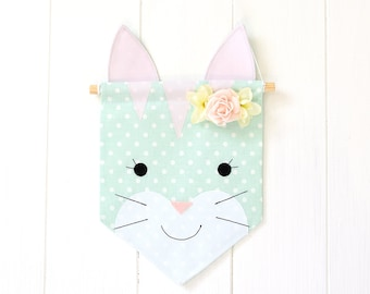 Wall Banner Wall Hanging Banner Flag Canvas Wall Banner Custom Banner Cat Wall Banner Wall Decor Nursery Decor Pennant Tapestry Garland