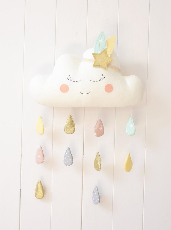 3a7a02325ec27 Cloud Mobile Cloud Baby Mobile Cloud Mobile Nursery Cloud Mobile Raindrops  Cloud Mobile Baby Nursery Decor cloud wall hanging Cloud Pillow