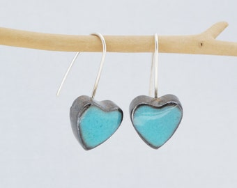 Ceramic earrings, Little turquoise blue heart earrings, Mother's day gift, valentines day gifts. Sterling silver wire.