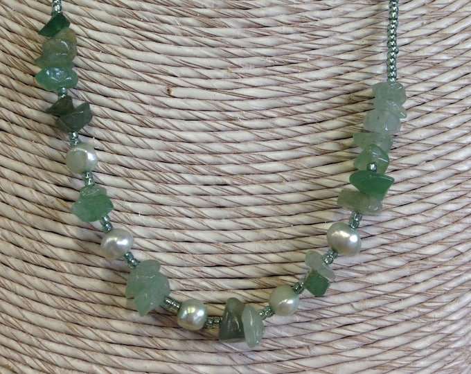 Semi precious pearl and gem necklace -  green jade and amazonite