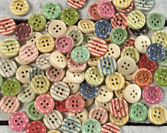 Wooden Buttons, mixed colours- spots and stripes - 15mm,  7/8 inch Sustainable, Natural Buttons - pack of 10,
