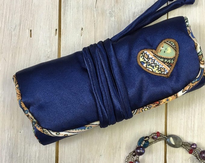 Handmade Jewellery Roll, , luxury satin fabric, Paisley satin lining,  Navy blue with applique heart design